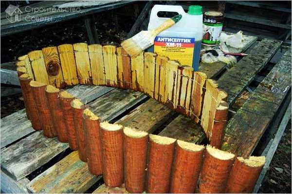 Как сделать бордюр из бревен