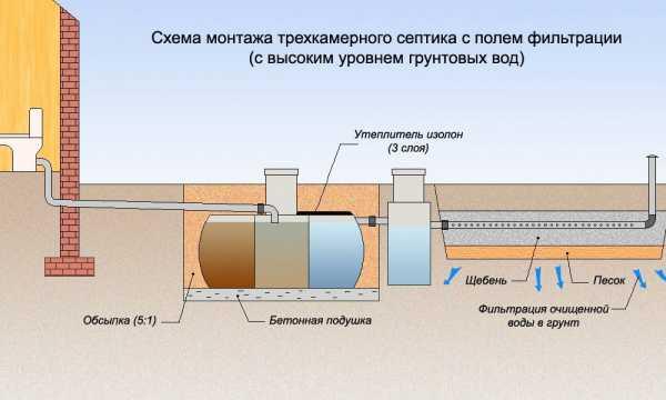 Септик из бетонных колец схема поле фильтрации