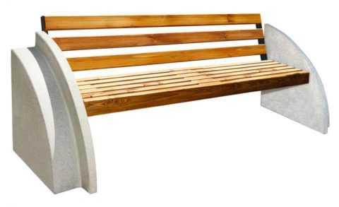 betonnye-skamejki_6 Варианты столов и скамеек для дачи. Скамейка из бетонных плит и досок со спинкой. Скамейка для дачи: инструкция для изготовления